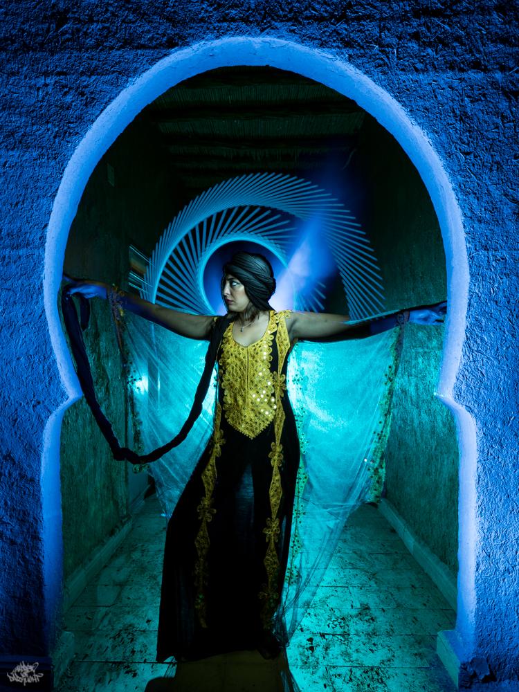LIGHTPAINTERSUNITED #3 MERZOUGA MEETING 2018. Photo: Frodo DKL (Children of Darklight). Model: Rani Rajita