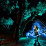 LIGHTPAINTERSUNITED #3 MERZOUGA MEETING 2018. Photo: Frodo DKL (Children of Darklight). Model: Djahida Malou. Lightpainters: Frodo DKL & Patry DKL