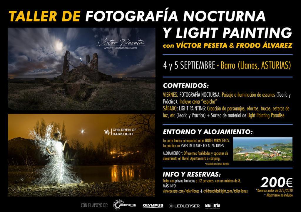 Cartel taller Fotografía Nocturna y Light Painting LLANES 2020